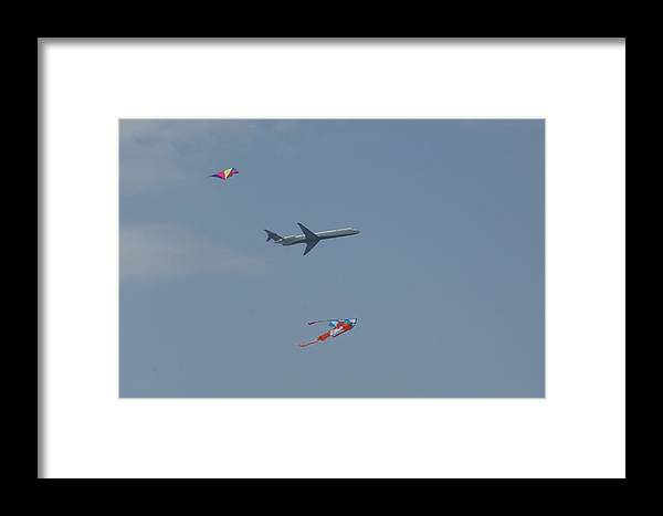 Kites Framed Print featuring the photograph Kites And Plane by Tina McKay-Brown