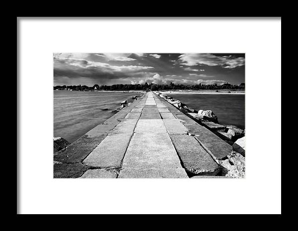 Lake Michigan Framed Print featuring the photograph Lake Michigan Jetty by Tanya Harrison