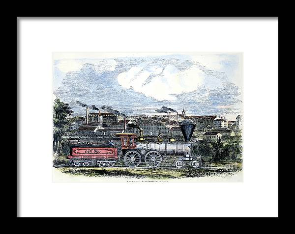 1855 Framed Print featuring the photograph Locomotive Factory, C1855 by Granger