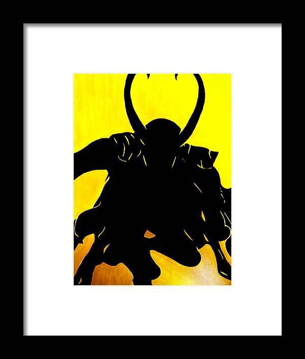 Loki Framed Print featuring the painting Loki by Cierra Waide-Portela
