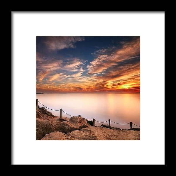 Framed Print featuring the photograph Long Exposure Of Last Night's Sunset by Larry Marshall
