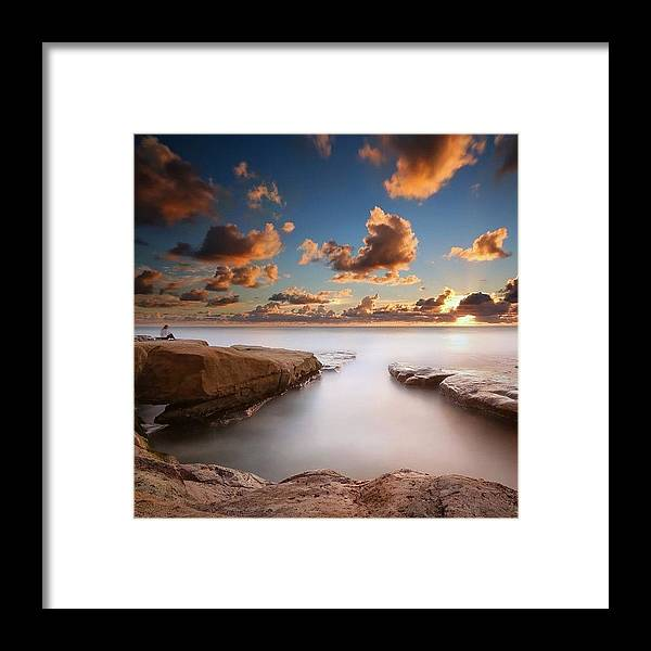 Framed Print featuring the photograph Long Exposure Sunset At A San Diego by Larry Marshall
