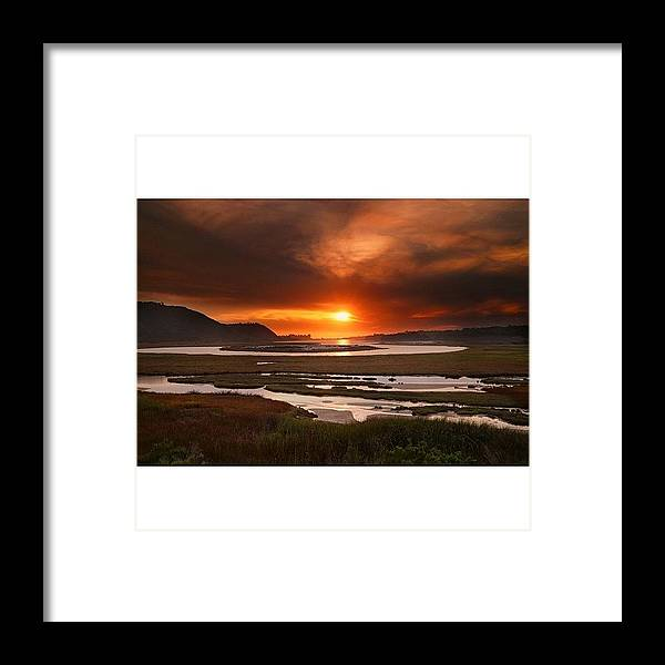 Framed Print featuring the photograph Long Exposure Sunset Looking Across The by Larry Marshall