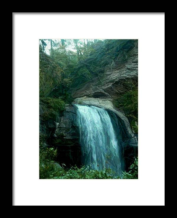 Framed Print featuring the digital art Looking Glass Falls by Ginger Egerton