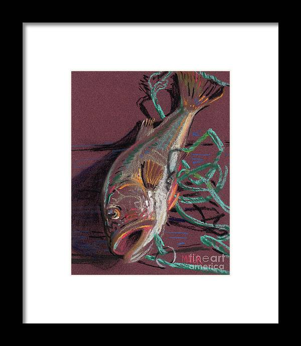 Bass Framed Print featuring the painting Louie's Catch by Donald Maier