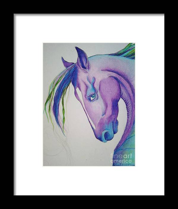 Seahorse Framed Print featuring the drawing Magic by Linda Dalziel