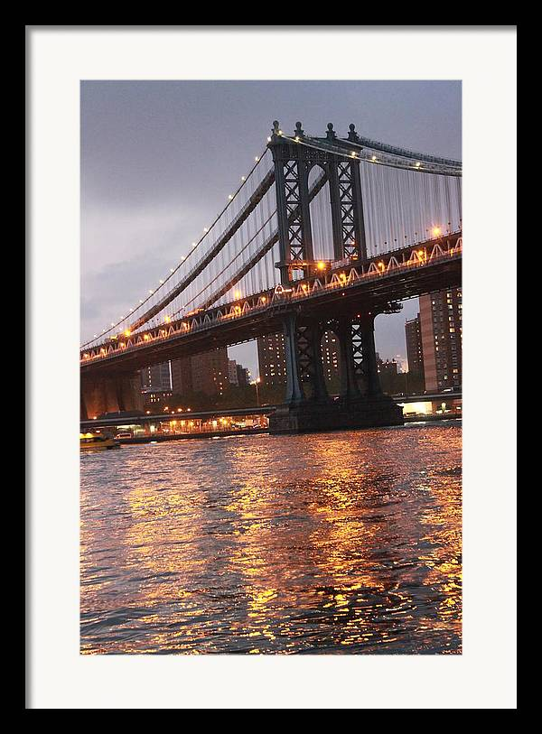 Bridge Framed Print featuring the photograph Manhattan Bridge by Nina Mirhabibi