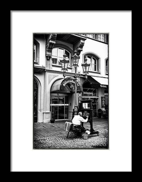 Germany Sreet Photography Local Interest Framed Print featuring the photograph Menu Artist by Rick Bragan