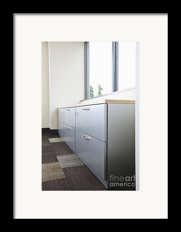 Architecture Framed Print featuring the photograph Metal Drawers And Shelf by Jetta Productions, Inc