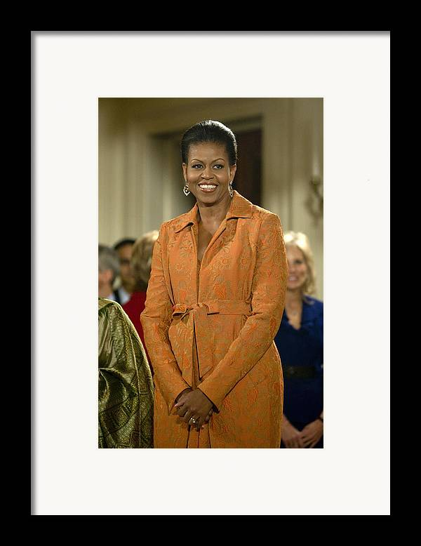 Michelle Obama Framed Print featuring the photograph Michelle Obama At A Public Appearance by Everett