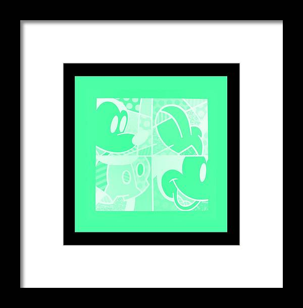 Mickey Mouse Framed Print featuring the photograph Mickey In Negative Light Green by Rob Hans