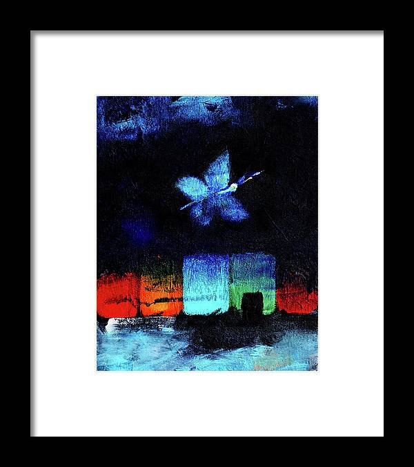 Night Framed Print featuring the painting Midsummer Wings 1 by Noga Ami-rav