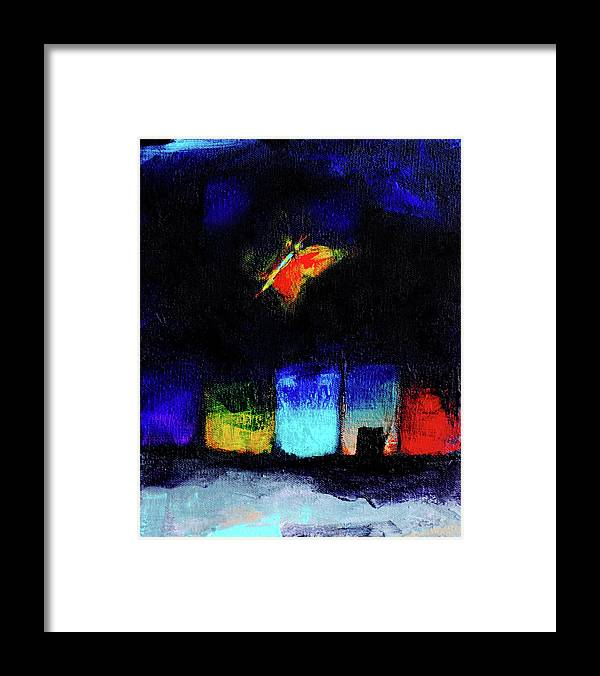 Night Framed Print featuring the painting Midsummer Wings 2 by Noga Ami-rav