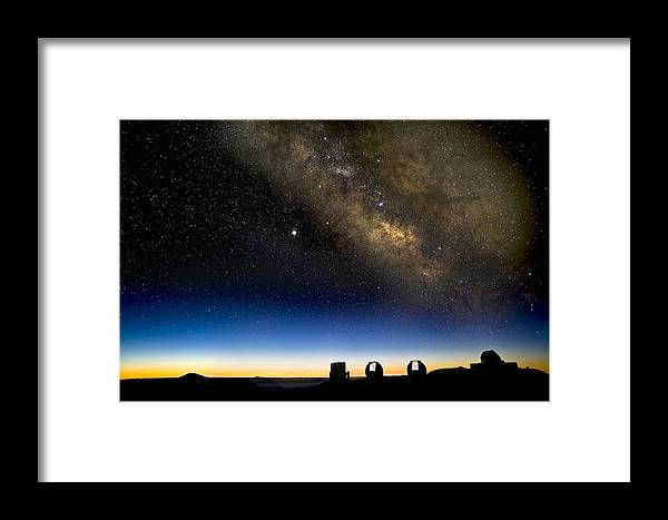 Milky Way Framed Print featuring the photograph Milky Way And Observatories, Hawaii by David Nunuk