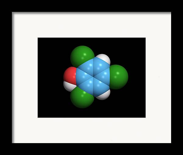 2 Framed Print featuring the photograph Molecule Of A Component Of Tcp Antiseptic by Dr Tim Evans