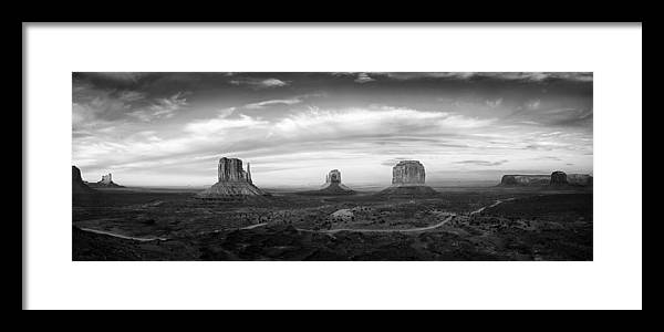 Clouds Framed Print featuring the photograph Monument Valley Panorama by Andrew Soundarajan