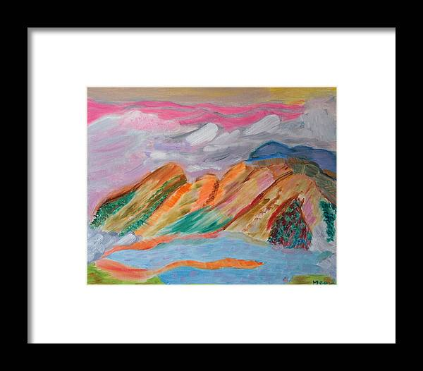 Landscape Framed Print featuring the painting Mountains In The Clouds by Meryl Goudey