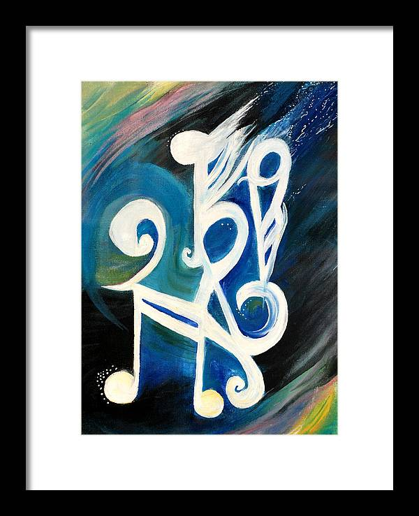 Music Firework Framed Print featuring the painting Music Firework by Tifanee Petaja