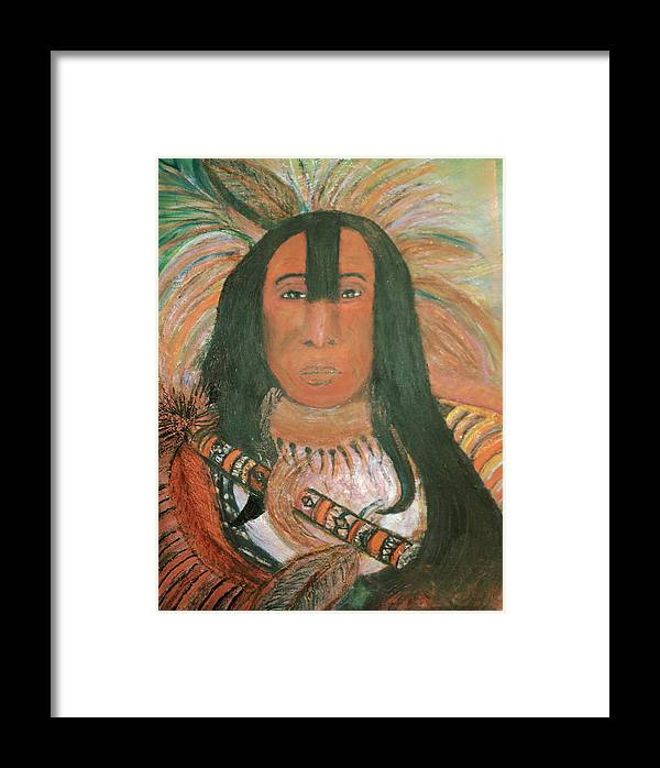 Native American Framed Print featuring the painting Native American Chief by Anne-Elizabeth Whiteway