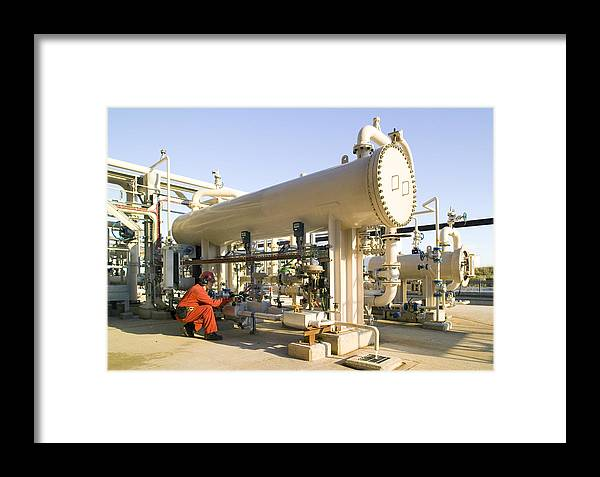 Equipment Framed Print featuring the photograph Oil Refinery Worker by Paul Rapson