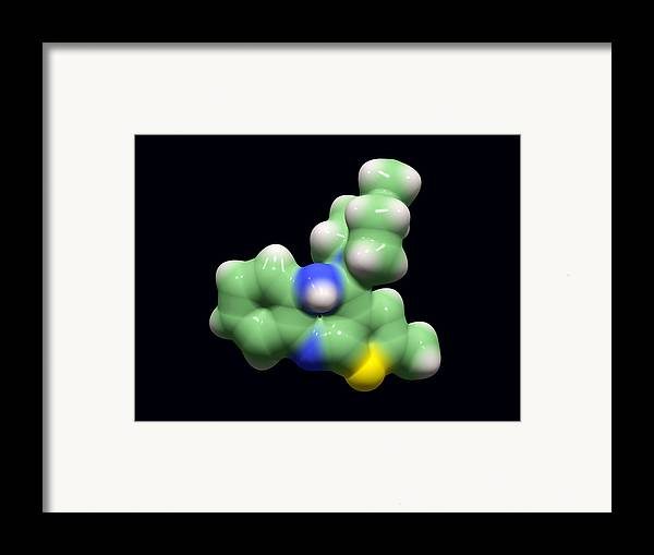 Zyprexa Zydis Framed Print featuring the photograph Olanzapine Antipsychotic Drug Molecule by Dr Tim Evans
