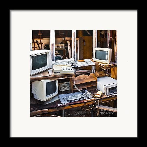 Abandoned Framed Print featuring the photograph Old Computers In Storage by Eddy Joaquim