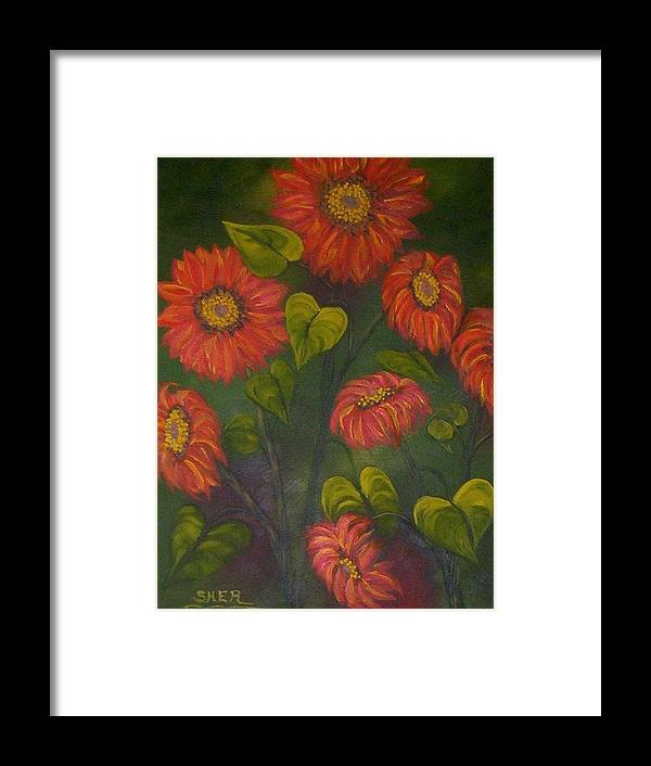 Sunflower Plant In Garden Of Country House. Framed Print featuring the painting Orange Sunflowers by SHER Millis