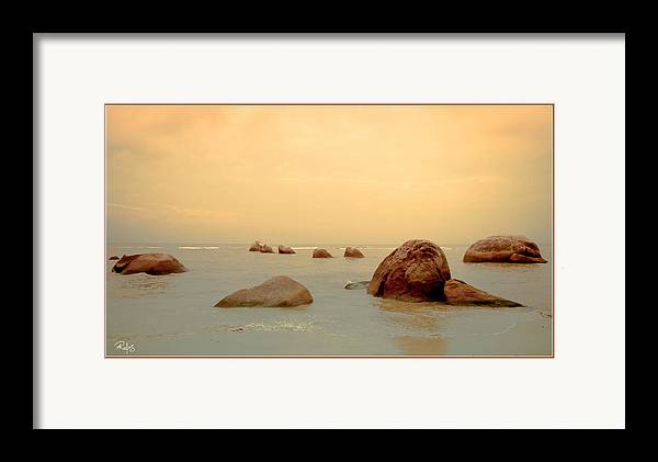 Ocean Framed Print featuring the photograph Pastel Rocks by Allan Rufus