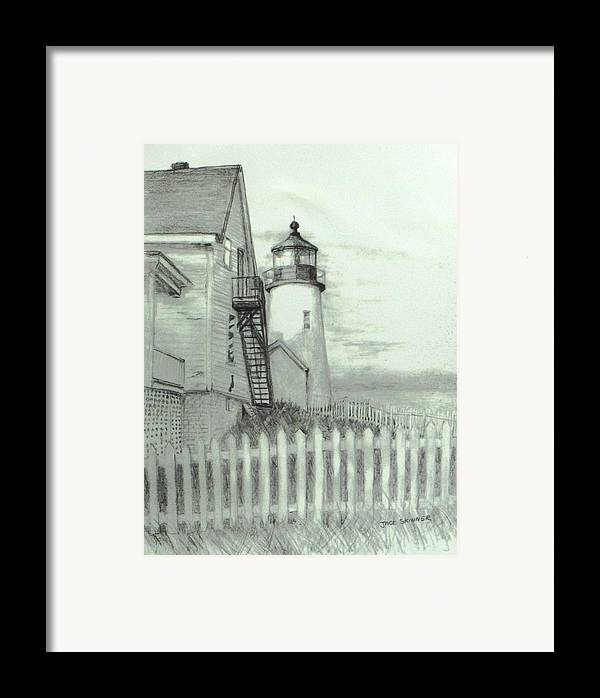 Pemaquid Lighthouse Framed Print featuring the drawing Pemaquid Lighthouse by Jack Skinner