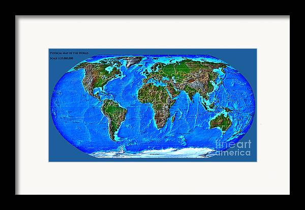 Physical Framed Print featuring the digital art Physical Map Of The World by Theodora Brown