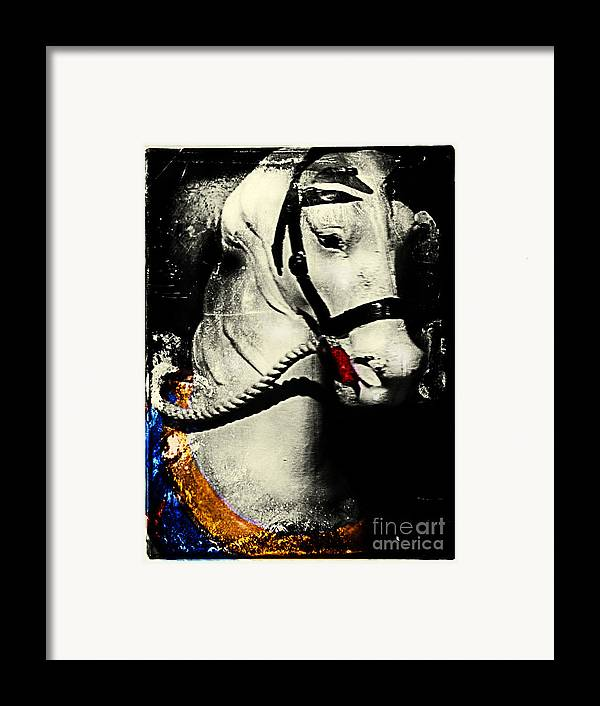Carousels Framed Print featuring the photograph Portrait Of A Carousel Pony by Colleen Kammerer