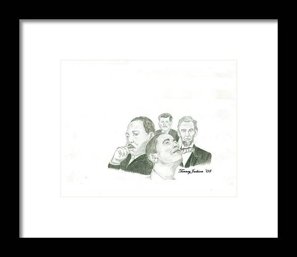 Obama Framed Print featuring the drawing Power Of Vision by Tierney Jackson