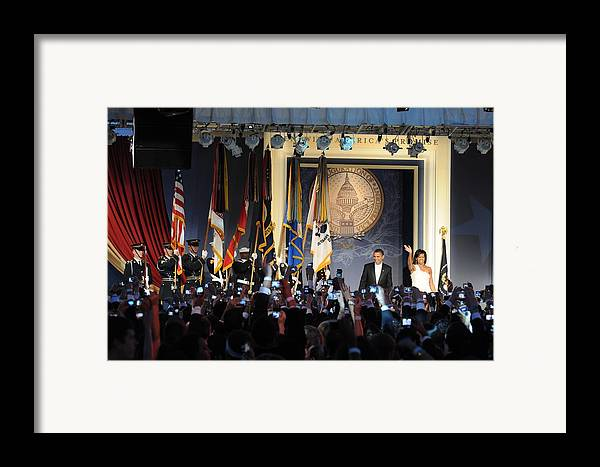 History Framed Print featuring the photograph President And Michelle Obama Arrive by Everett