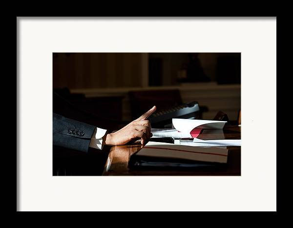 History Framed Print featuring the photograph President Barack Obama Gestures by Everett