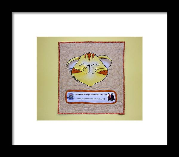 Quilted Wall Hanging Framed Print featuring the photograph Quilted Cat by Sally Weigand