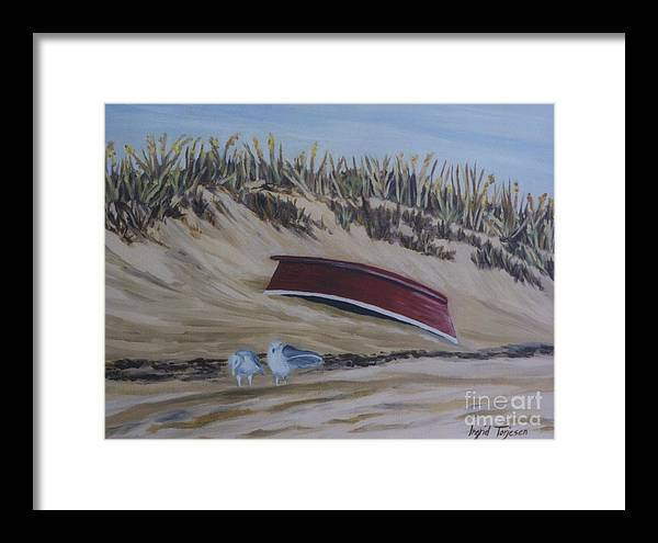 Framed Print featuring the painting Red Boat by Ingrid Torjesen