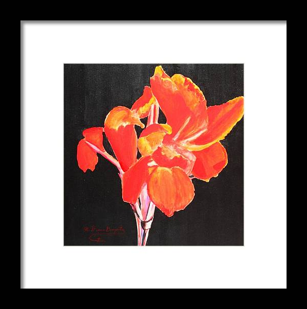 Garden Framed Print featuring the painting Red Canna by M Diane Bonaparte