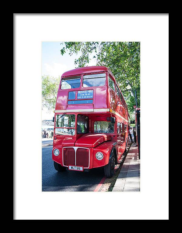 Dawn Oconnor Dawnoconnorphotos@gmail.com Framed Print featuring the photograph Red London Bus by Dawn OConnor