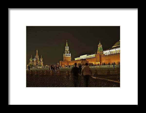 Kremlin Framed Print featuring the photograph Red Square In Moscow At Night by Michael Goyberg