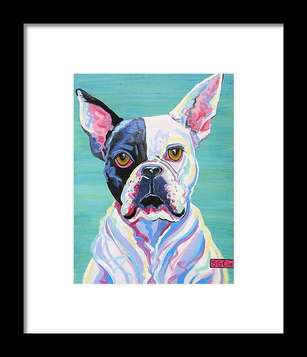 Boston Terrier Framed Print featuring the painting Rex by Sarah Gayle Carter