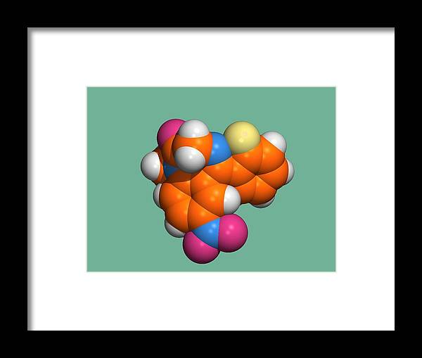 Flunitrazepam Framed Print featuring the photograph Rohypnol Molecule by Dr Tim Evans