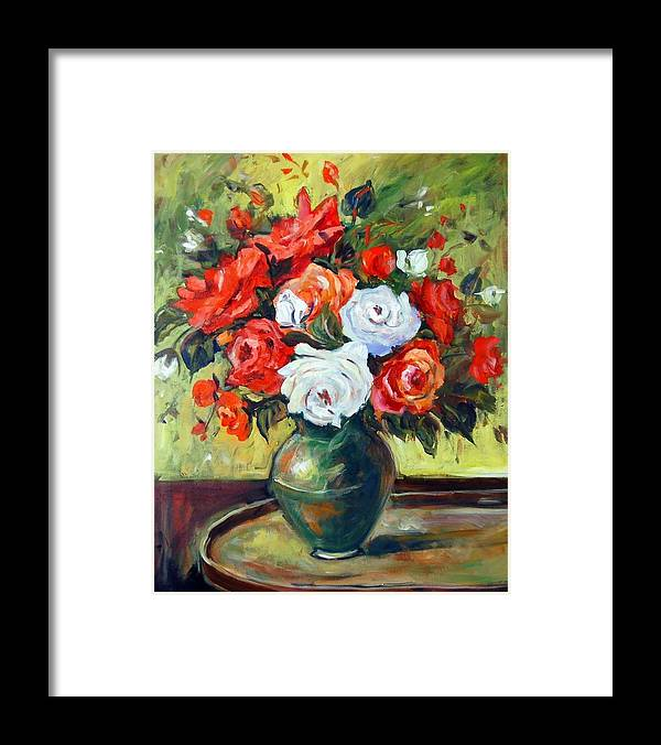 Ingrid Dohm Framed Print featuring the painting Roses by Ingrid Dohm