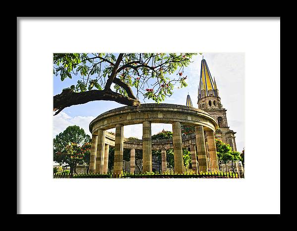 Rotunda Framed Print featuring the photograph Rotunda Of Illustrious Jalisciences And Guadalajara Cathedral by Elena Elisseeva