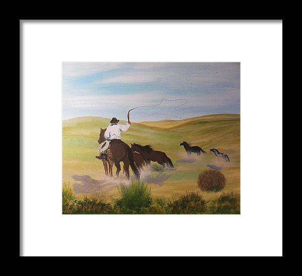 Canvas Painting Prints Framed Print featuring the painting Roundup by Laurie Kidd