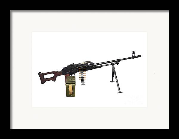 Single Object Framed Print featuring the photograph Russian Pkm General-purpose Machine Gun by Andrew Chittock