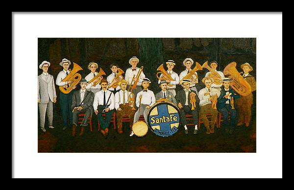 Railroad Framed Print featuring the painting Santa Fe Band by John Pinkerton