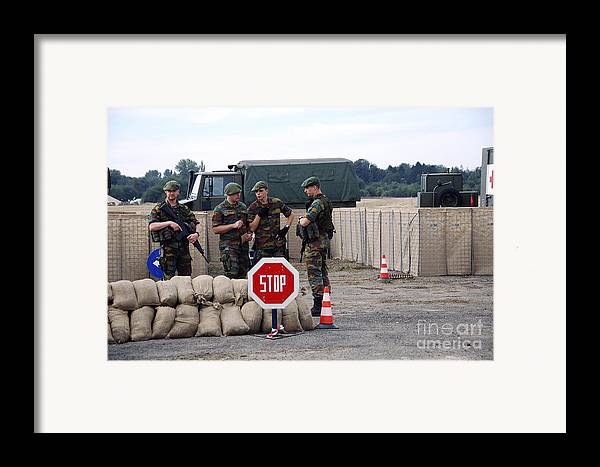 Armed Forces Framed Print featuring the photograph Scenery Of A Checkpoint Used by Luc De Jaeger
