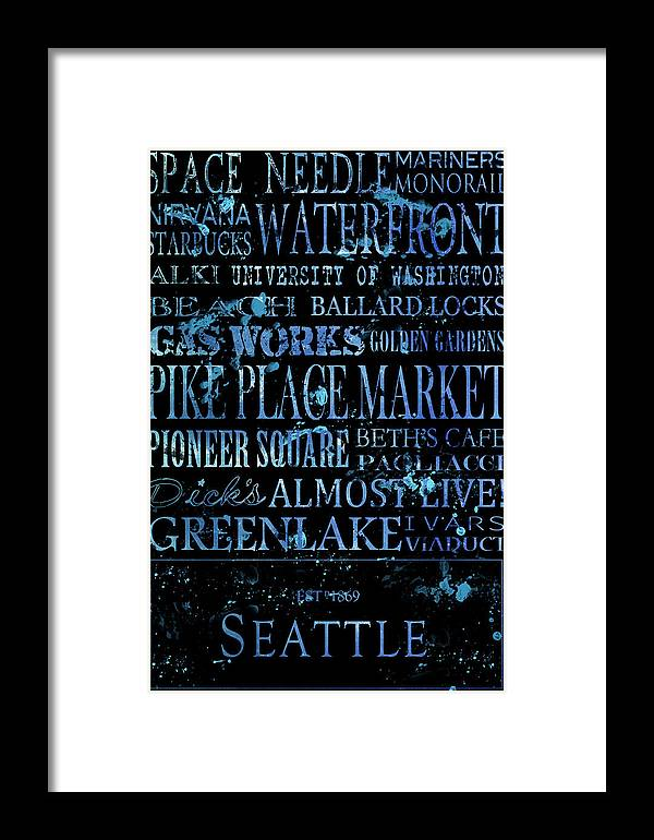 Seattle Framed Print featuring the digital art Seattle Icons by Tanya Harrison