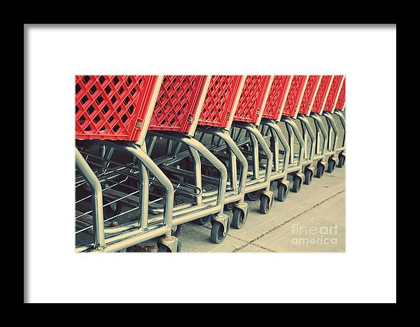 Red Framed Print featuring the photograph Shopping Carts by HD Connelly
