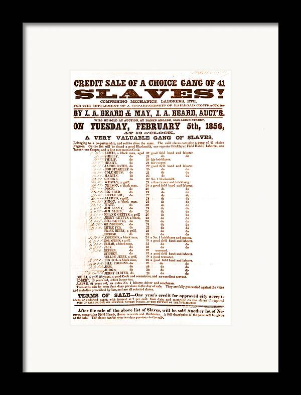 Abolition Framed Print featuring the photograph Slave Auction Notice by Photo Researchers, Inc.